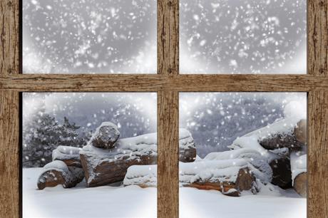 Image of winter scene framed in window