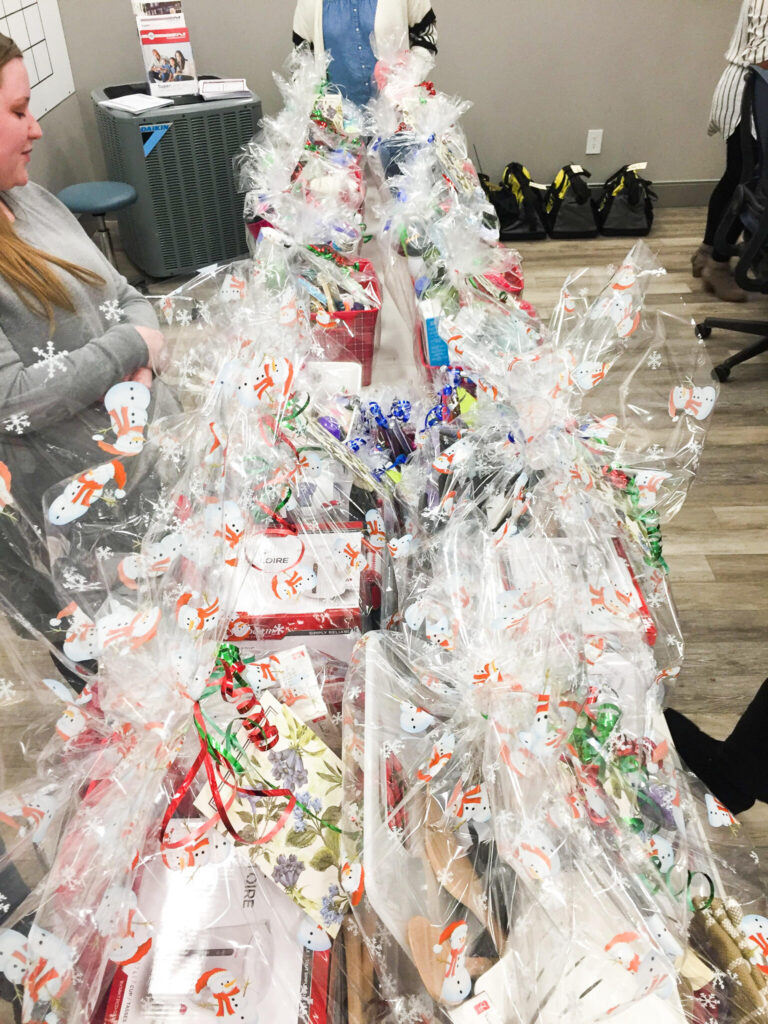 A1 in the community images of wrapped gift baskets