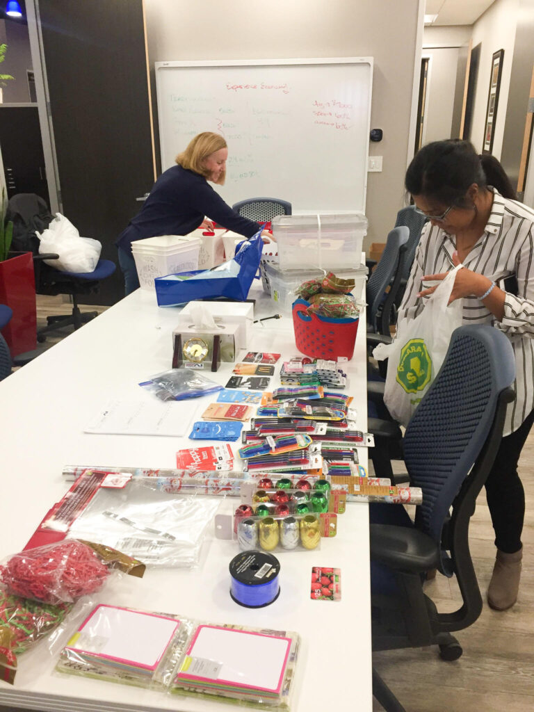 A1 in the community image of putting baskets together