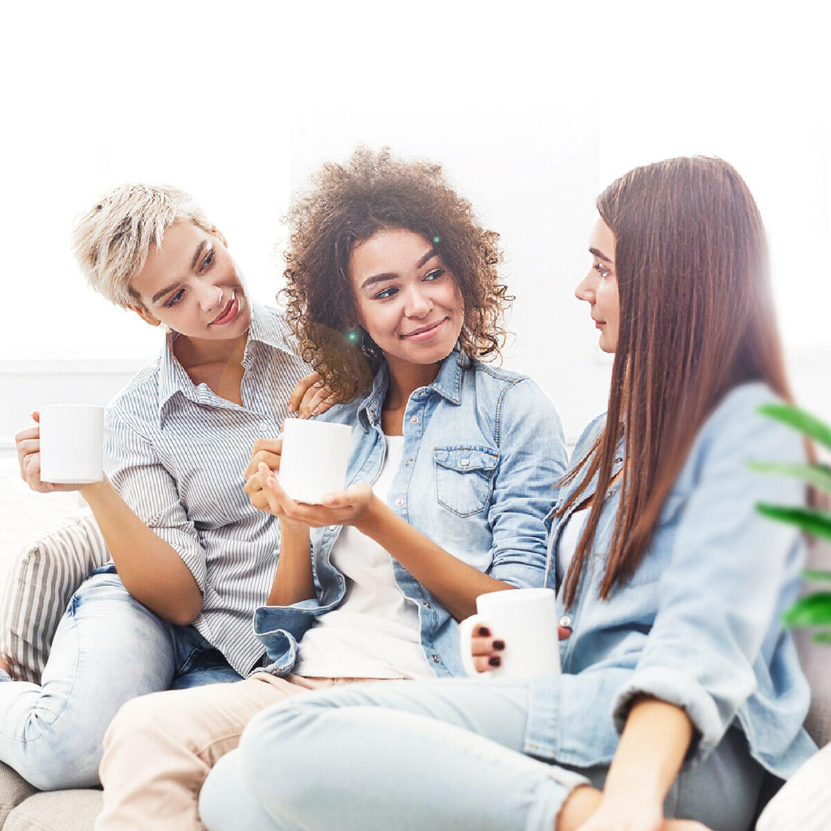 A1 referral program image of 3 ladies enjoying coffee on a couch