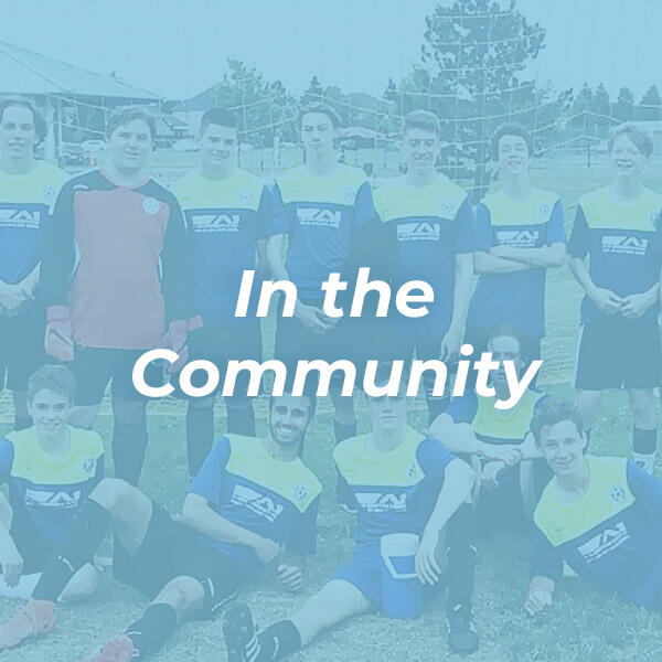 In the community image of sports team with blue overlay HVAC Solutions