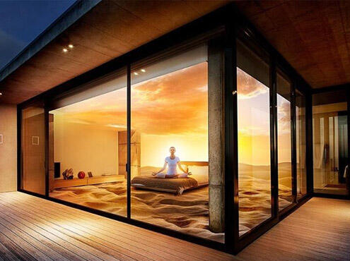 Image looking inside someone's bedroom with all glass windows heating solutions
