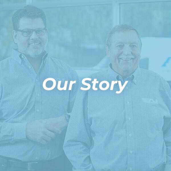 Our story with image of 2 gentleman with blue overlay HVAC Solutions