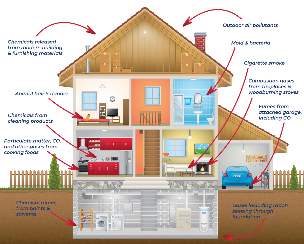 Infographic image of a house showing indoor air quality and potential issues