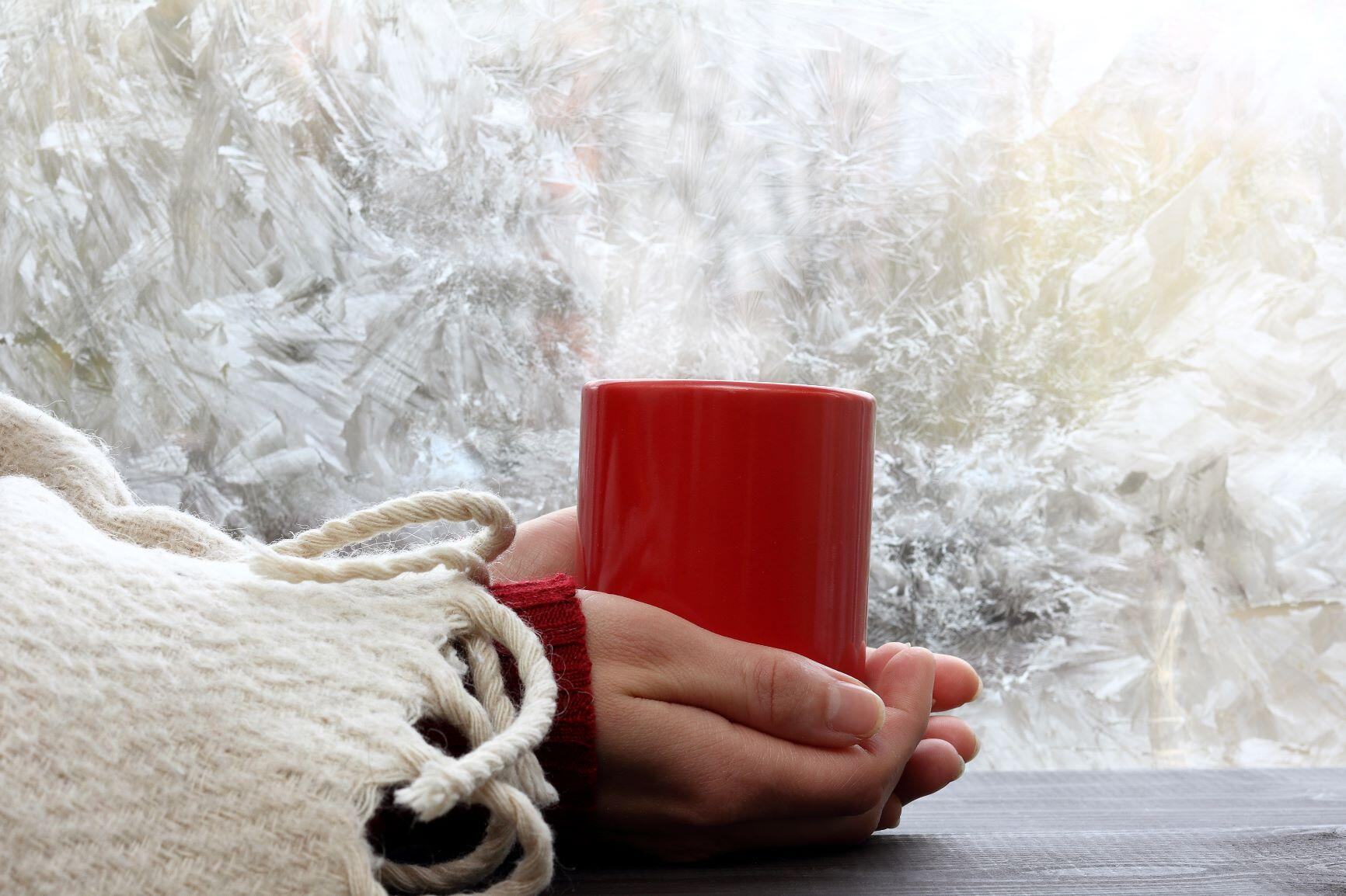 Image of woman holding mug in hands while dressed warm inside home heating solutions