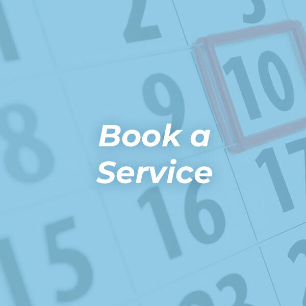 Book a Service icon image with calendar in background with blue overlay