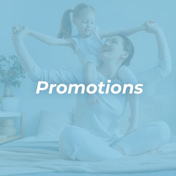 A1 air conditioning & heating promotions and deals image with mother and child playing on bed with blue background overlay